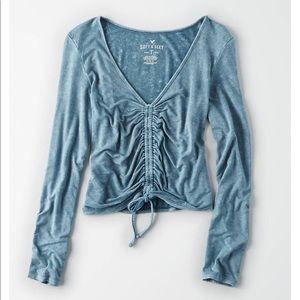 03a1a1f00c3 American Eagle Outfitters Tops - Ae Soft & Sexy Long Sleeve Ruched Front T- shirt